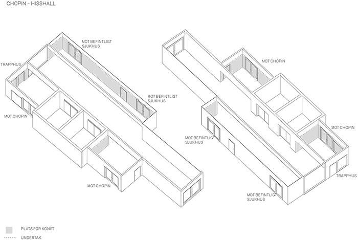 Arkitektskiss hisshall Huddinge. White Arkitekter.