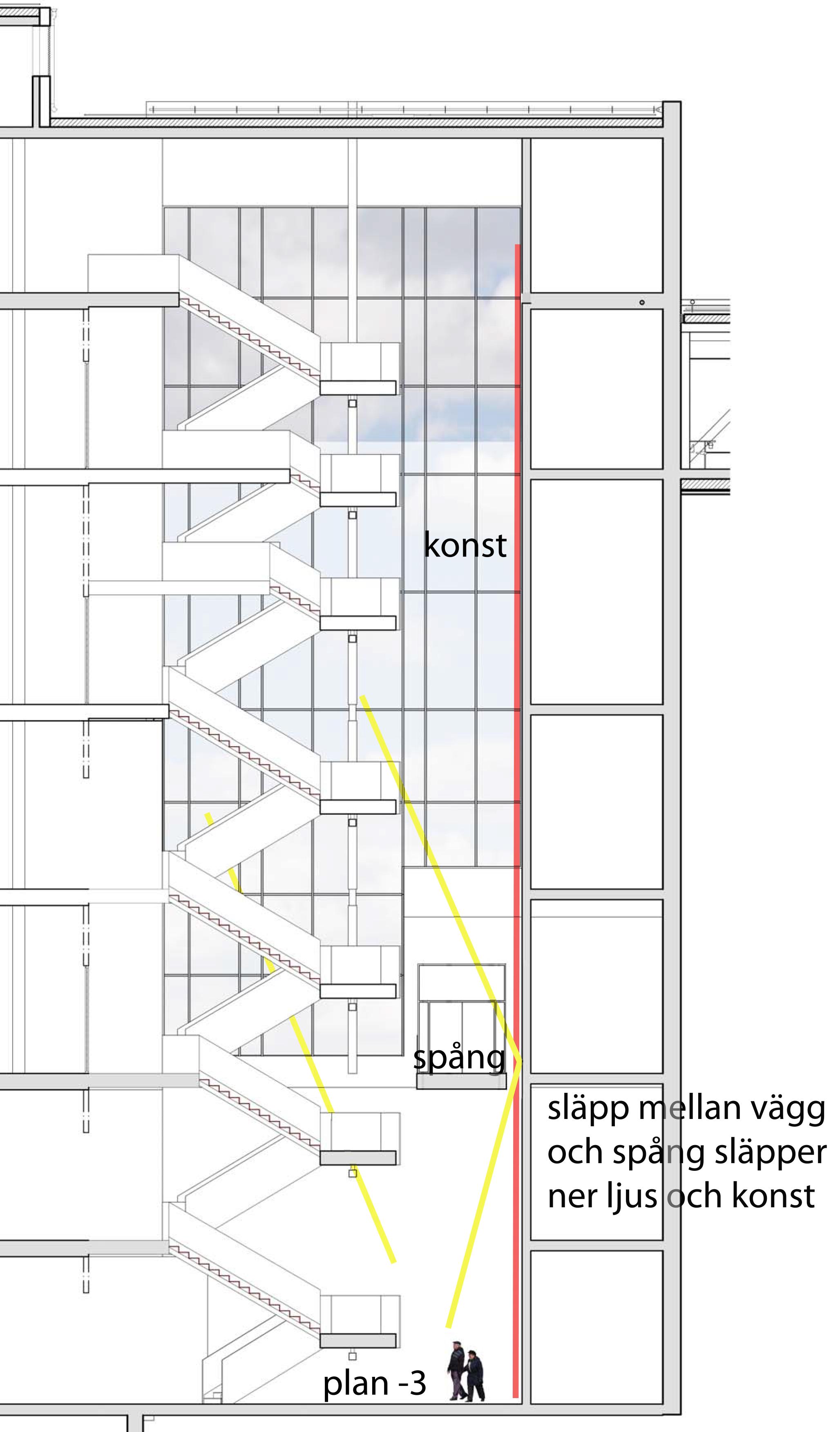 Spång östtrappa byggnad 70 Södersjukhuset. Stor skissbild