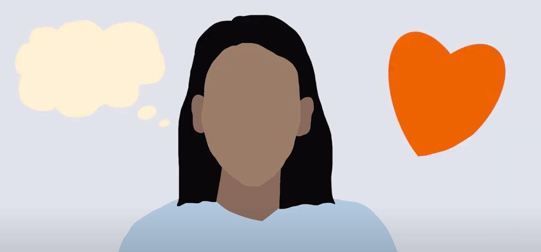 Illustrerad bild av en tankebubbla till vänster och ett hjärta till höger om ett huvud i mitten.