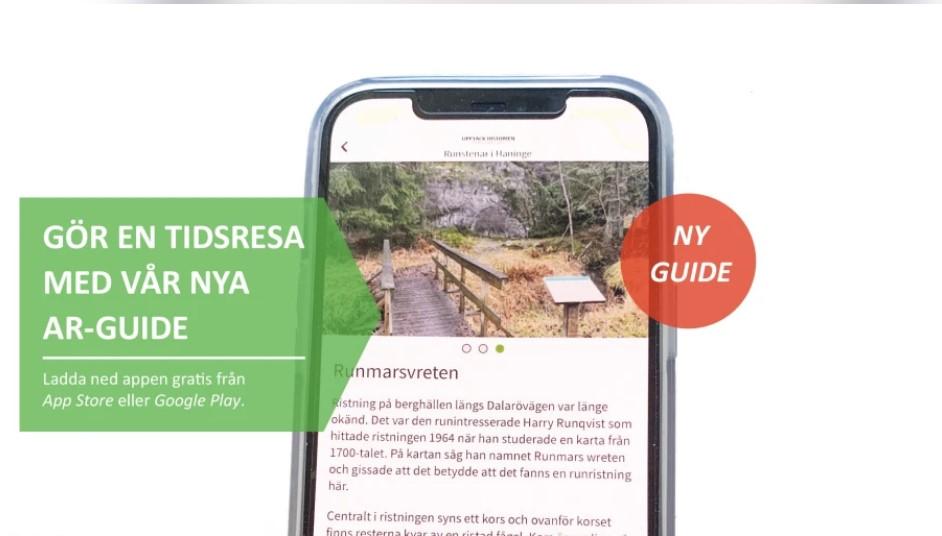 Text i bild av mobilskärm med naturmotiv
