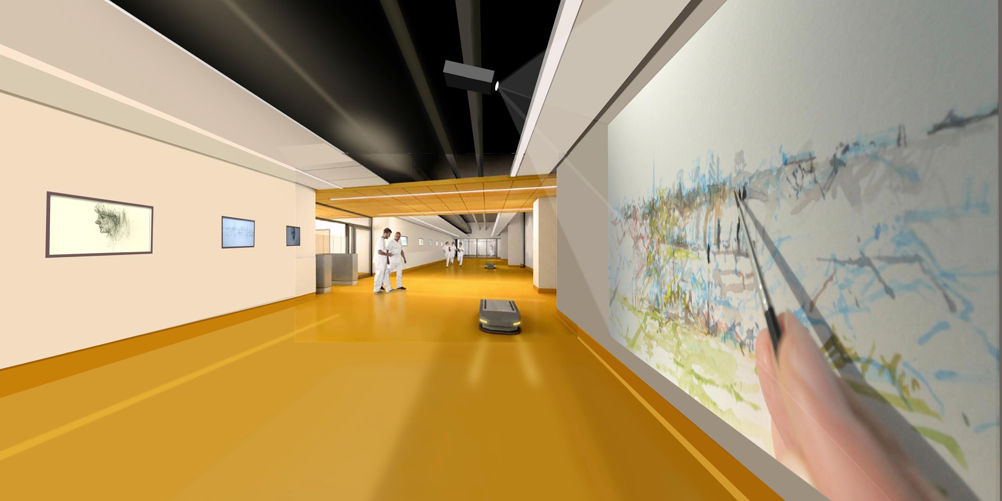 Sjukhusjorridor med Videoinstallationer.
