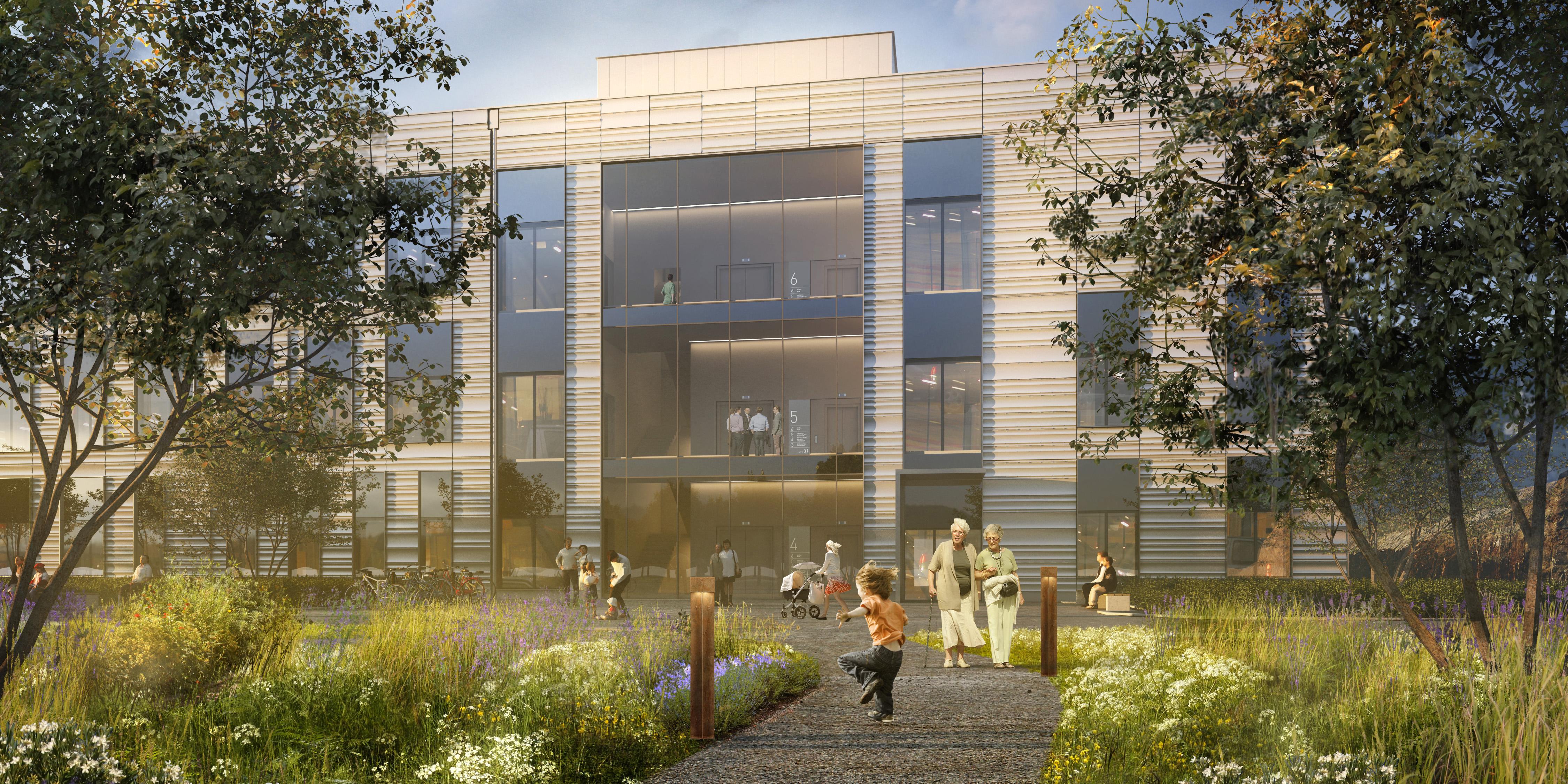 Bilden föreställer en illustration av Karolinska Universitetssjukhuset Huddinge där man ser trapphuset och sjukhusets trädgård utanför.