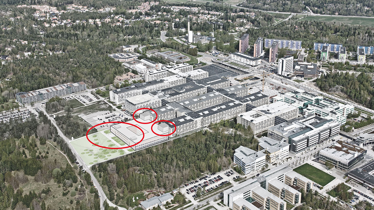 Huddinge sjukhus. Skissbild