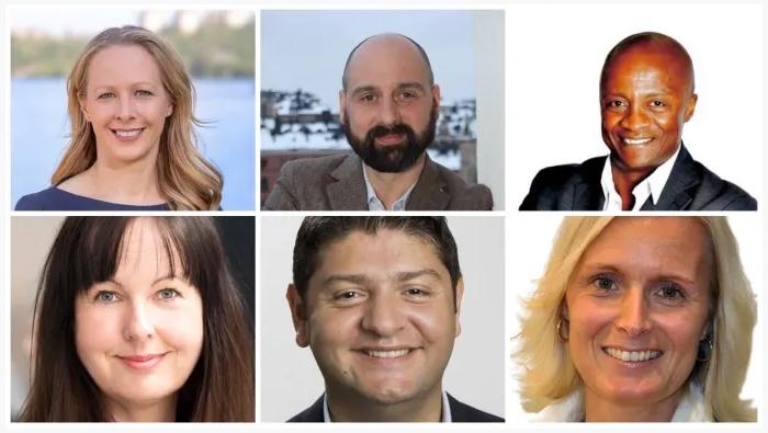 Kollage med sex av talarna på Stockholmstinget