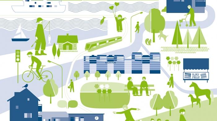 Illustration i blått och grönt från rapporten RUFS 2050,